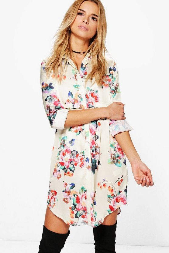 Annie Floral Satin Shirt Dress