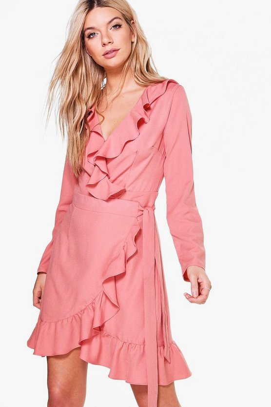 Ashton Ruffle Wrap Tea Dress