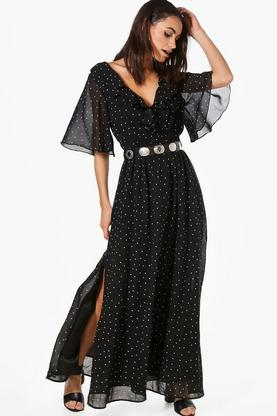 Hester Polka Dot Ruffle Wrap Maxi Dress