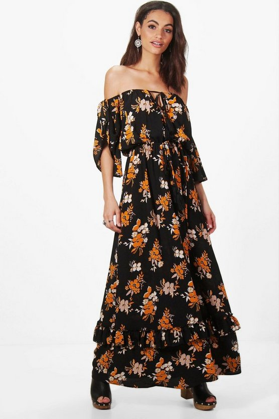 Hollie Floral Off Shoulder Ruffle Maxi Dress