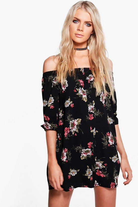 Jola Floral Off Shoulder Button Shift Dress