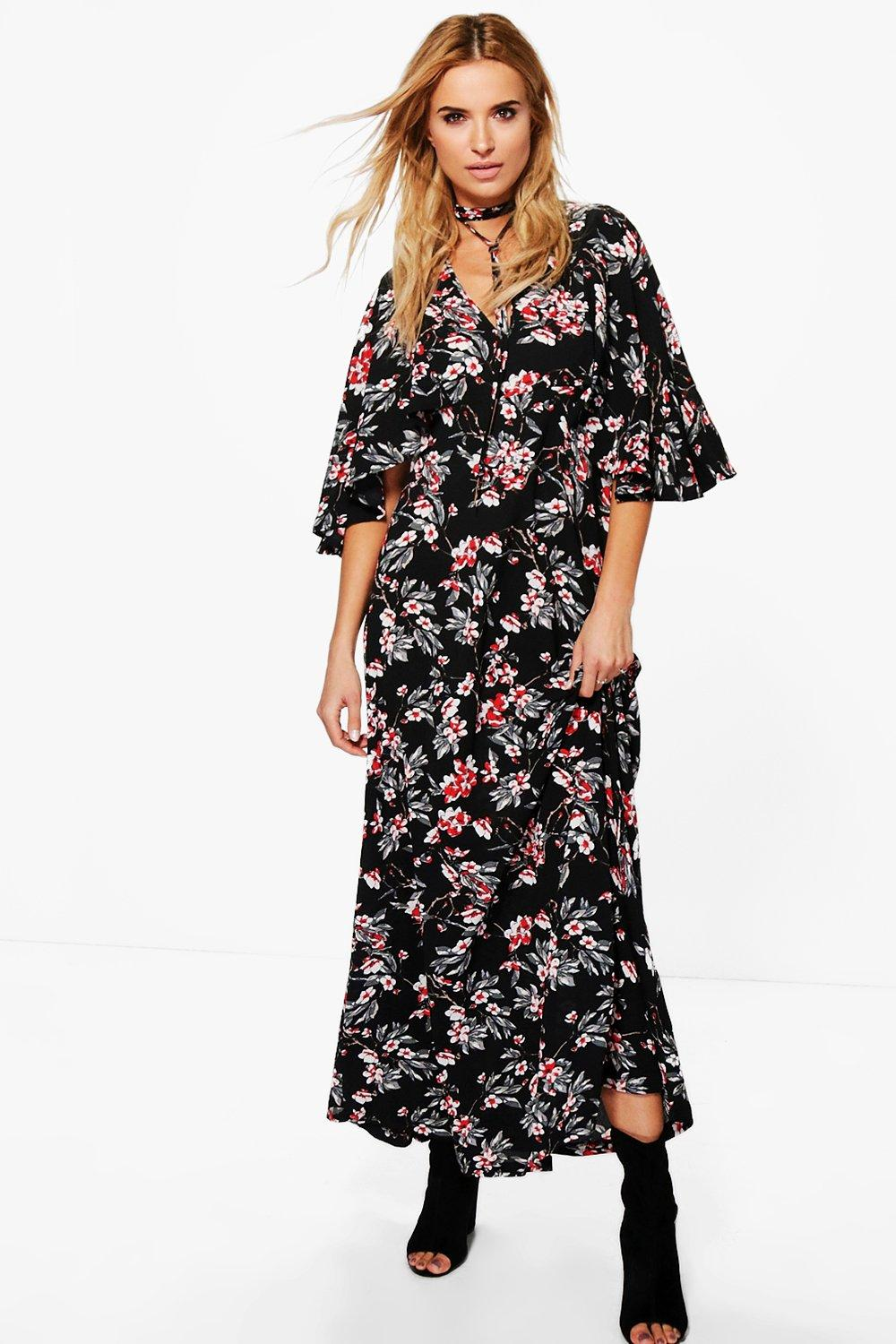 Floral Neck Tie Angel Sleeve Maxi Dress  black