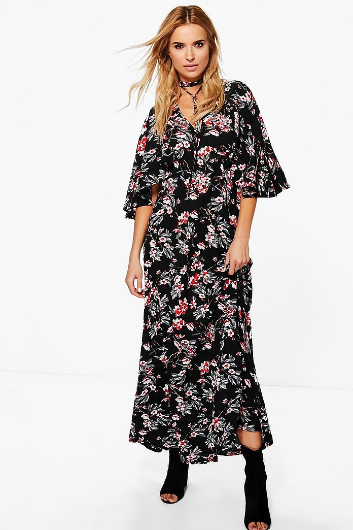 Ama Floral Neck Tie Angel Sleeve Maxi Dress