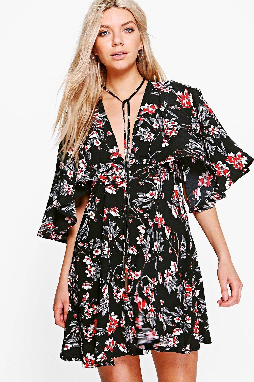 Amaris Robe Style Années 50 À Fleurs Nouée Au Col
