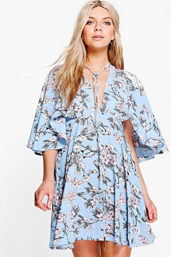 Amaris Floral Neck Tie Tea Dress