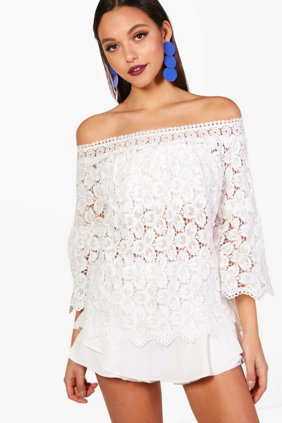 Isobel Crochet Bardot Top