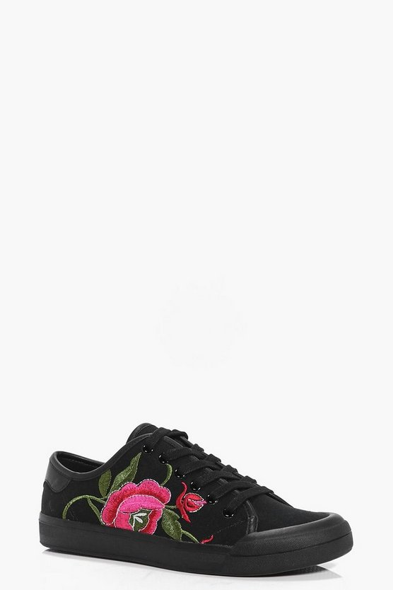 Amy Floral Embroidered Lace Up Trainera