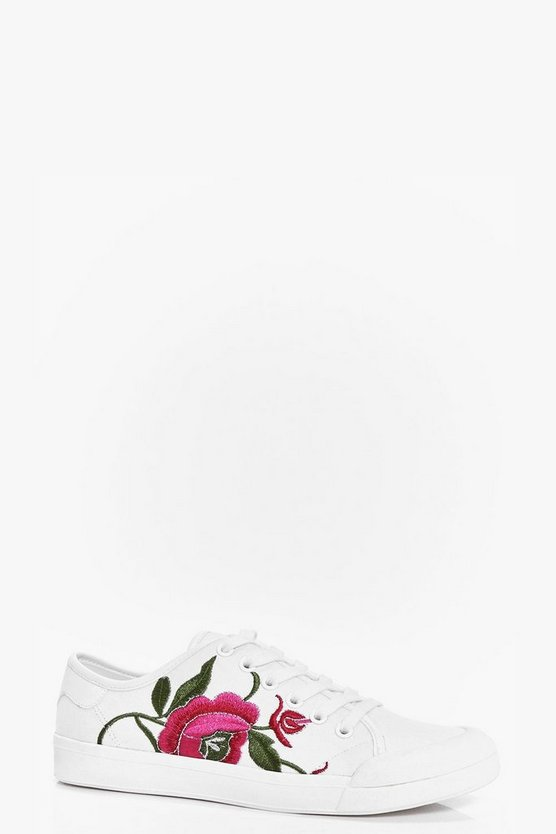 Amy Floral Embroidered Lace Up Trainer