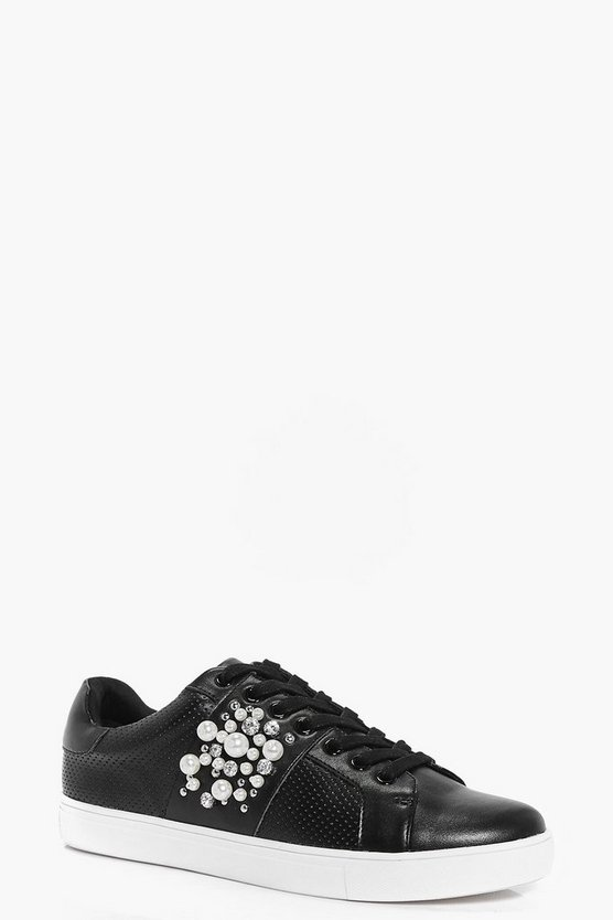Ivy Pearl And Diamante Trim Lace Up Trainers