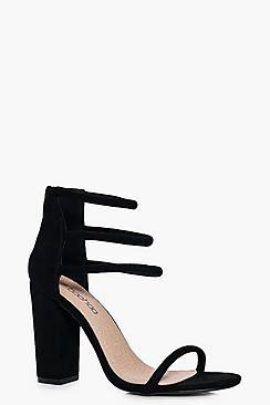 Eve Three Strap Ankle Band Block Heel