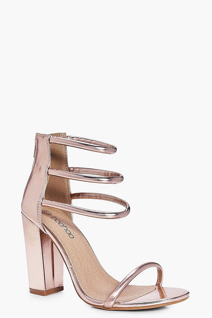 Lois Three Strap Ankle Band Block Heels