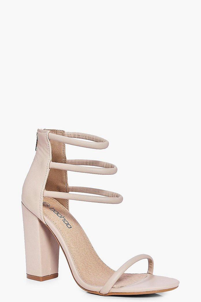 Faye Three Strap Ankle Band Block Heels