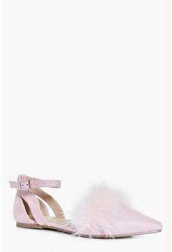 Edie Faux Feather Trim Pointed Flats