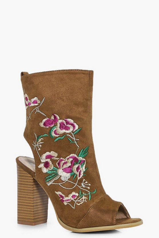 Zoe Peeptoe Sock Boot With Floral Embroidery