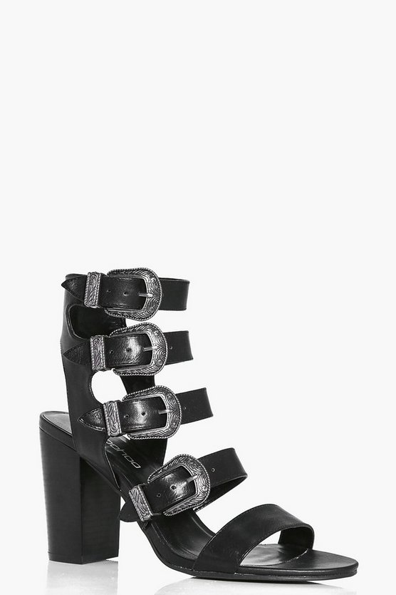 Sarah Multi Buckle Gladiator Flared Heel