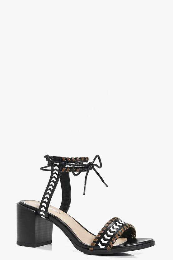 Evelyn Contrast Whip Stitch Block Heels