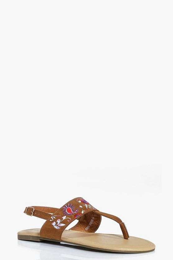 Ivy Floral And Paisley Embroidered Thong Sandal