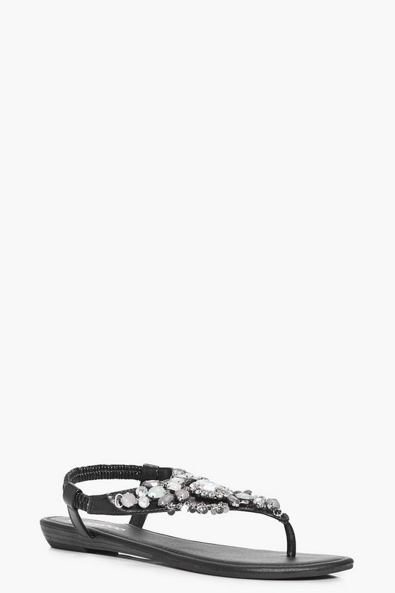 Tilly Embellished Thong Demi Wedge Sandals