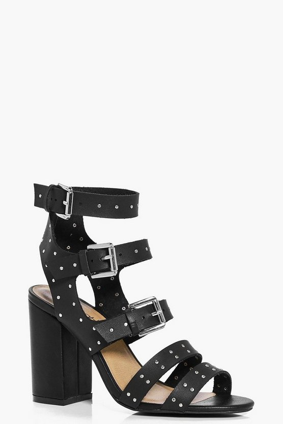 Eloise Studded Trim Gladiator Block Heel