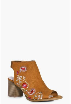 Laila Peeptoe Floral Embroidered Shoe Boot