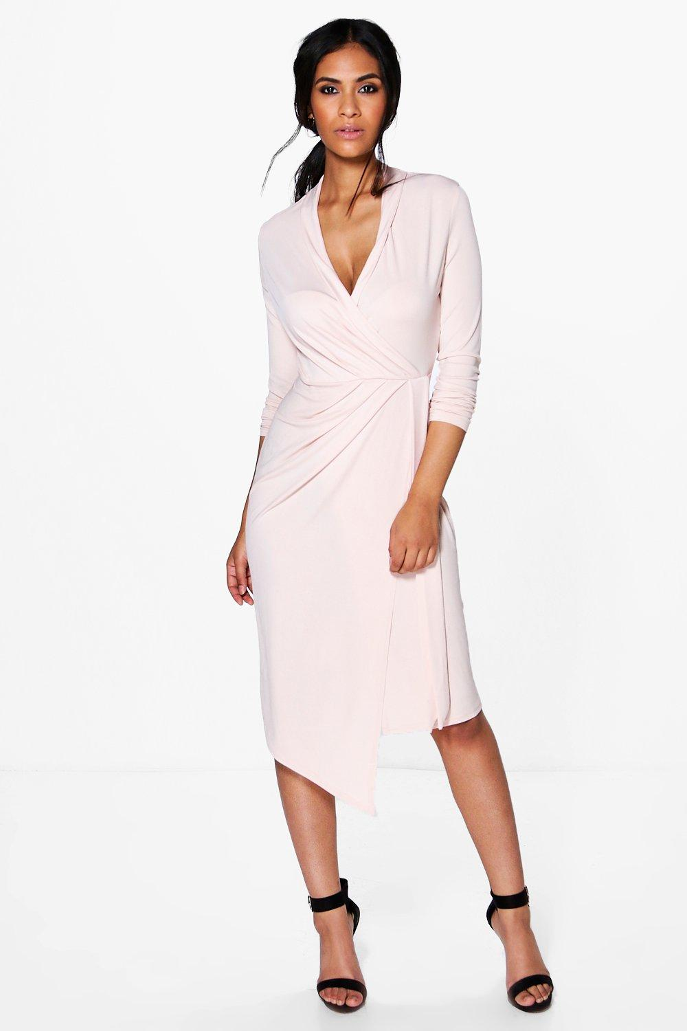 Alicia Long Sleeve Wrap Front Midi Dress