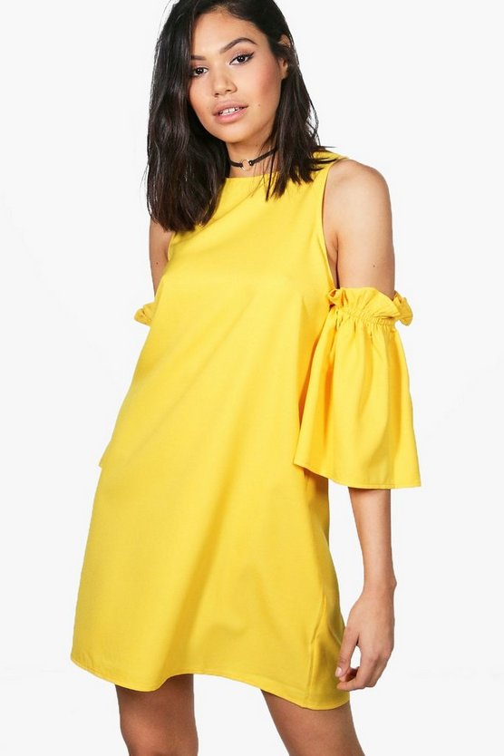 Tyra Cold Shoulder Ruffle Sleeve Shift Dress