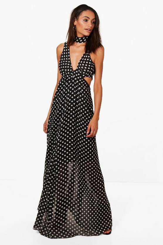 Pamela Polka Dot Neck Tie Maxi Dress