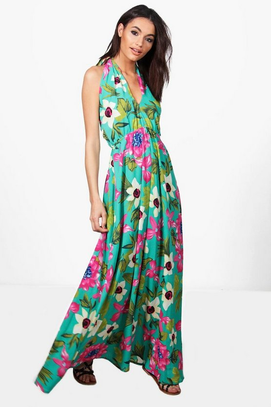 Rachel Tropical Wrap Front Maxi Dress