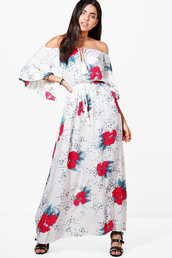 Joy Floral Off Shoulder Tassle Tie Maxi Dress