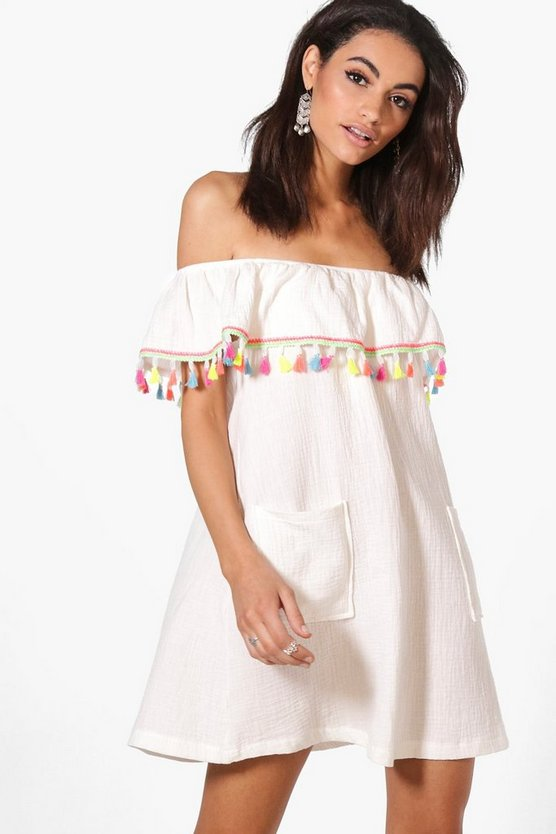 Sonya Off Shoulder Tassel Dress