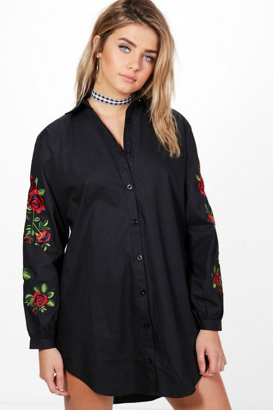 Lake Floral Embroidered Shirt Dress