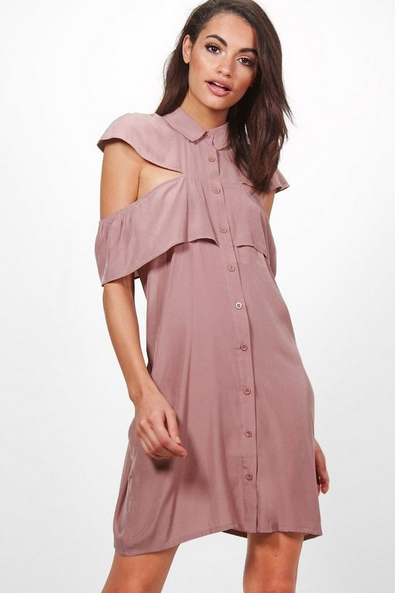 Keira Ruffle Cold Shoulder Shirt Dress