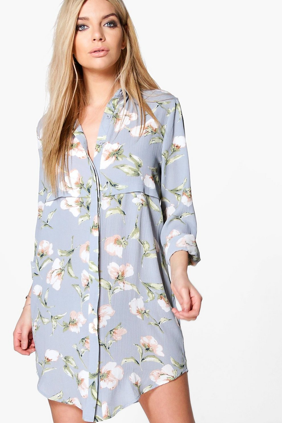 Boohoo Floral Printed Shirt Dress Outlet Countdown Package oTjf5fVdd