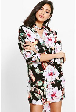 Marie Floral Choker Wrap Shirt Dress
