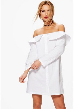 Zila Off Shoulder Shirt Dress