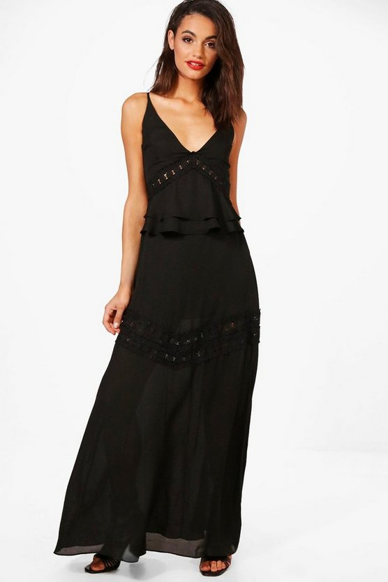 Lace Insert Maxi Dress