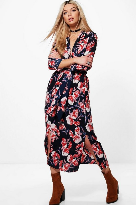 Harley Floral Maxi Wrap Shirt Dress
