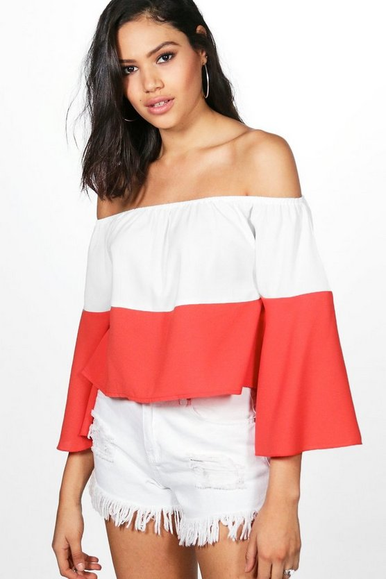 Martha Colourblock Bardot Top
