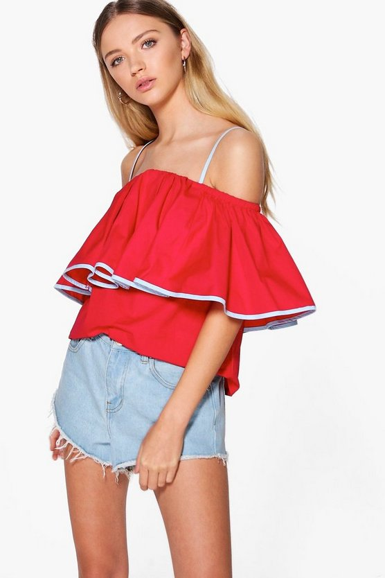 Georgia Cold Shoulder Ruffle Top