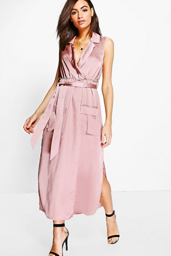 Jennie Utility Pocket Wrap Satin Dress