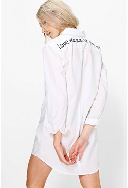 Alecta Back Embroidered Shirt Dress