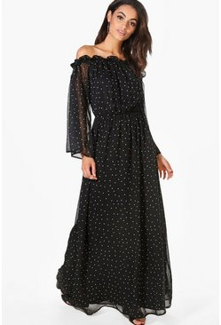 Erin Polka Dot Off Shoulder Maxi Dress