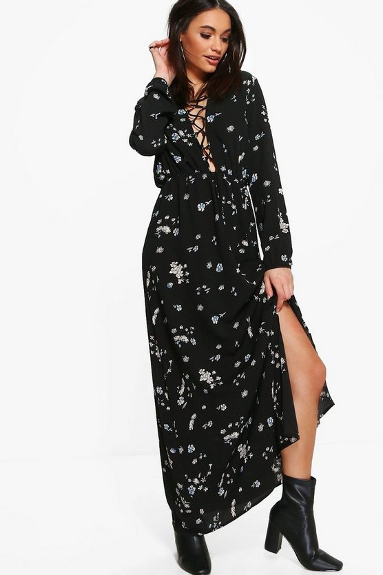 Alessa Floral Lace Up Split Front Maxi Dress