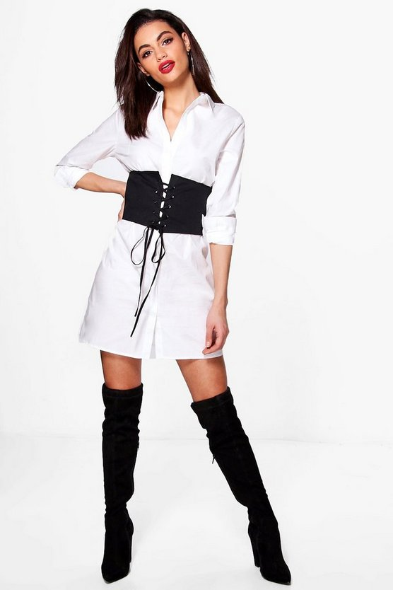 Alicia Lace Up Corset Front Shirt Dress