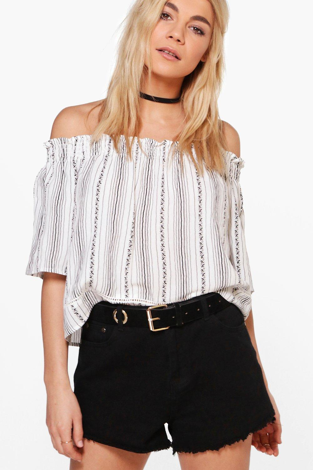 Polly Printed Stripe Off The Shoulder Top