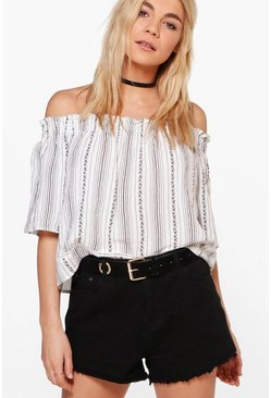 Polly Printed Stripe Cold Shoulder Top