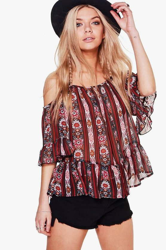 Maria Mixed Print Cold Shoulder Top