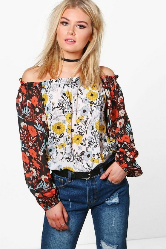 Mila Mixed Print Bardot Top