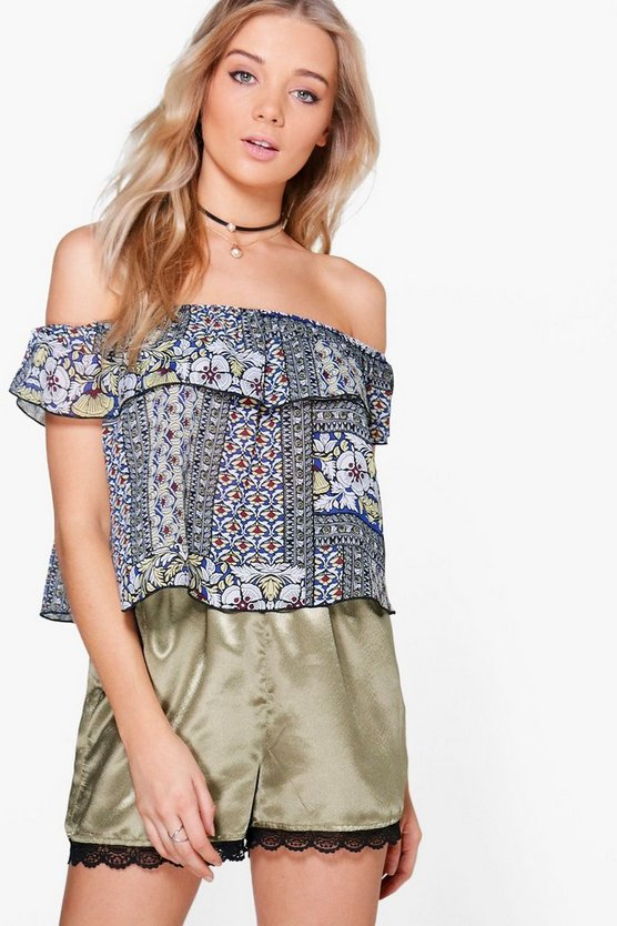 Leanne Printed Bardot Top