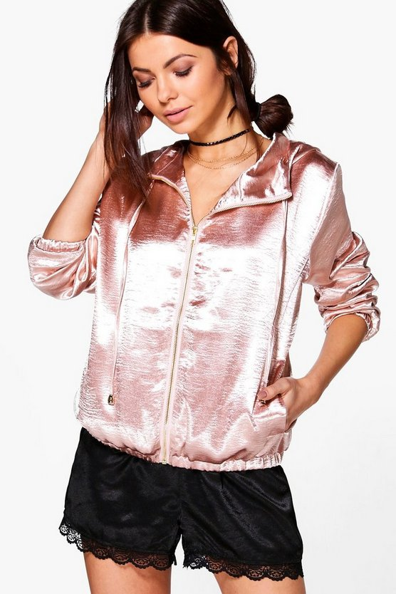 Lily Hooded Satin Bomber
